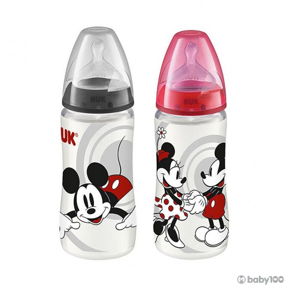 NUK 迪士尼米奇300ML寬口PP奶瓶/矽膠奶咀2號中孔