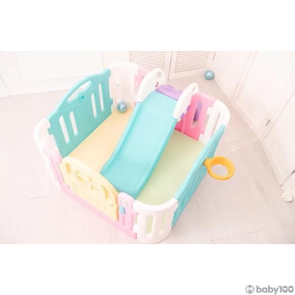 Little Pony Lollipop 韓國兒童遊戲圍欄 (紫/粉細地墊+細圍欄+滑梯)