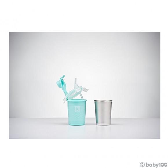 袋鼠寶寶Kangovou 8安士不銹鋼飲管杯 (薄荷綠)