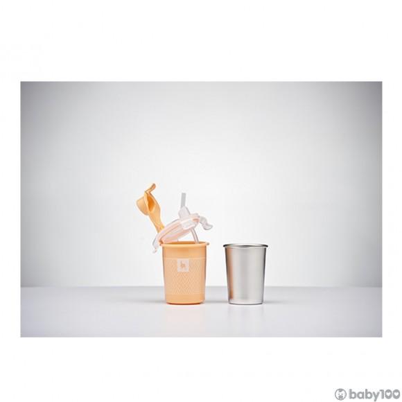 袋鼠寶寶Kangovou 8安士不銹鋼飲管杯 (水蜜桃色)
