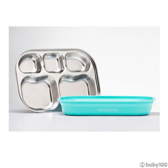 袋鼠寶寶不銹鋼餐碟 (薄荷綠)