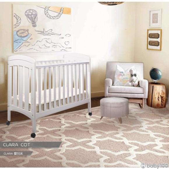 0/3 Baby Clara 嬰兒床床架(白) + 雙面謢脊彈簧床褥 (組合發售)