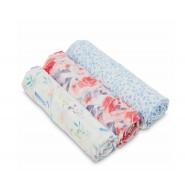 Aden+Anais 竹纖維嬰兒包巾(3件裝)SILKY SOFT BAMBOO SWADDLES WATERCOLOR GARDEN