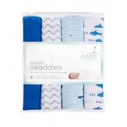 Aden+Anais 嬰兒包巾藍色圖案 ( 4件裝 ) SWADDLE PLUS MAKING WAVE
