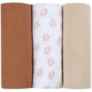 Beaba 3 件盒装有機棉紗巾 - 刺蝟