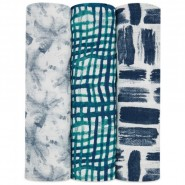 Aden+Anais 柔軟絲綢嬰兒包巾 綠色 ( 3件裝 ) SILKY SOFT SWADDLES SEAPORT