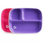 MUNCHKIN SPLASH 分格餐碟 (2 件裝) (紅紫)