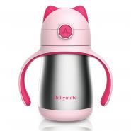 Babymate不銹鋼貓咪吸管保溫杯220ml-粉紅色