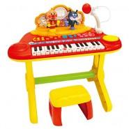 日本ANPANMAN 麵包超人 兒童新款電子鋼琴帶椅子麥克風玩具