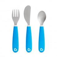 MUNCHKIN 不銹鋼餐具(3件裝 刀义匙羹) (藍色)