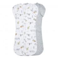 Aden+Anais 包巾睡袋 (2件裝 ) ESSENTIALS EASY SWADDLE SNUGS SAVANNA SPOTS BLUE