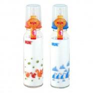 Nuk 印花玻璃奶瓶(230ml) + 中孔乳膠奶咀(1號)