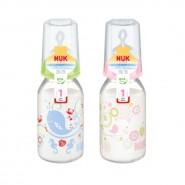 Nuk 印花玻璃奶瓶(120ml) + 中孔矽膠奶咀(1號)