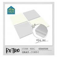 CreamHaus 冰塊貼地墊 (鐵灰色&奶白色) Retro Cube  (Gray & White)
