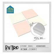 CreamHaus 冰塊貼地墊 ((粉紅&奶白色) Retro Cube  (Pink & White)