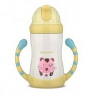 Babymate不銹鋼兒童吸管保溫保冷杯(有雙握柄)_黃色貓