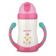 Babymate不銹鋼兒童吸管保溫保冷杯(有雙握柄)_粉紅雞