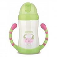 Babymate不銹鋼兒童吸管保溫保冷杯(有雙握柄)_綠色羊