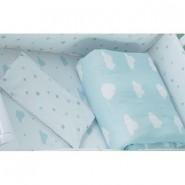 California Bear 斜紋布嬰兒床品套裝 (白雲星空)