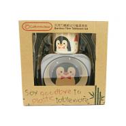California Bear 天然竹纖維幼兒餐具套裝 (小企鵝)