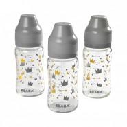 Beaba 寬頸玻璃奶瓶 3件套裝 (灰) (240ML)